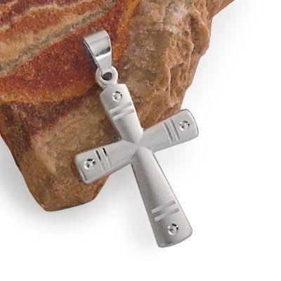 Kreuz Anhänger mit Gravuren 925 Silber