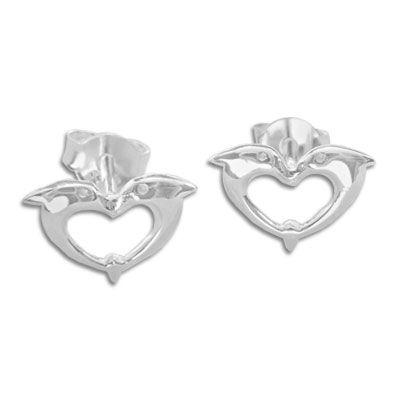 Ohrstecker im Herzform mit 2 Delphinen 925 Silber