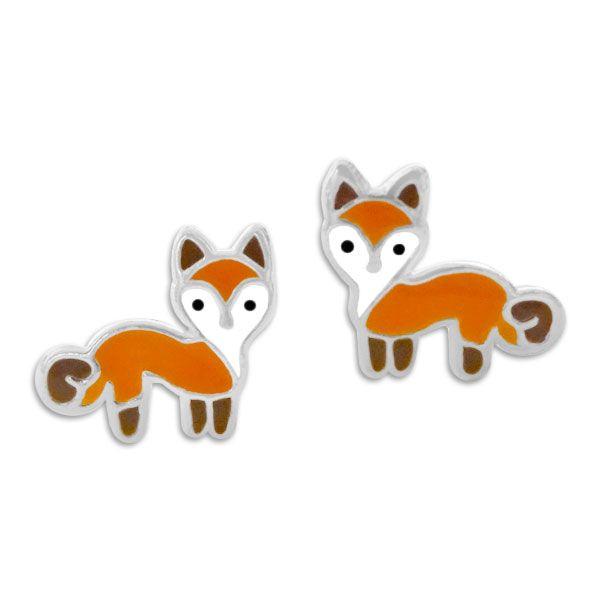 Kinderschmuck Ohrstecker Fuchs orange braun 925 Silber Ohrringe mit Füchsen