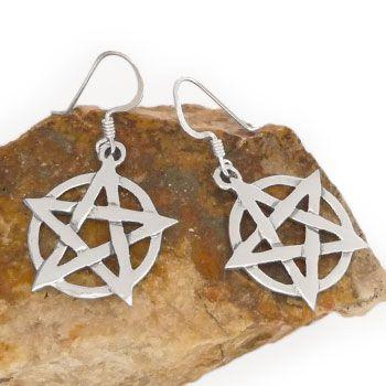 Pentagramm Ohrringe Ohrhänger 925 Silber Gothic Schmuck