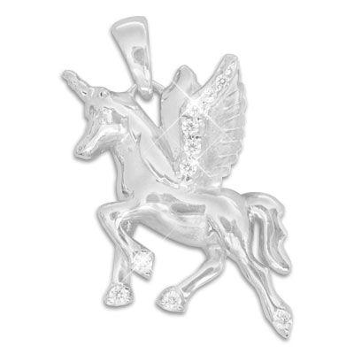 Großer Einhorn Anhänger mit Zirkonia Strass Steinen 925 Silber Alicorn Schmuck