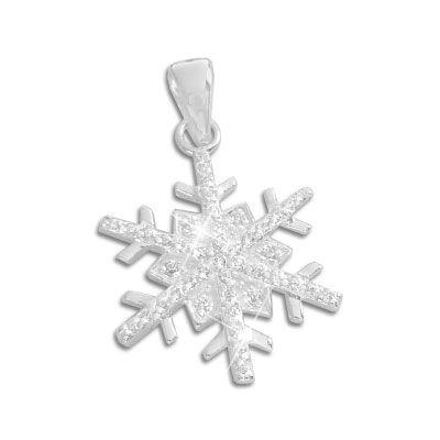 Schneeflocken Anhänger Eiskristall 925 Silber