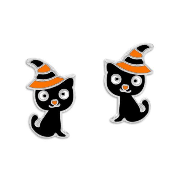 Ohrstecker Halloween Katze mit Hut 925 Silber Ohrringe Fasching, Karneval, Halloween