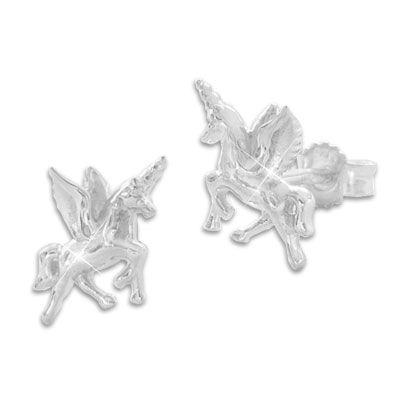 Ohrstecker Einhorn mit Flügeln 925 Silber Alicorn Ohrringe mit Einhörnern