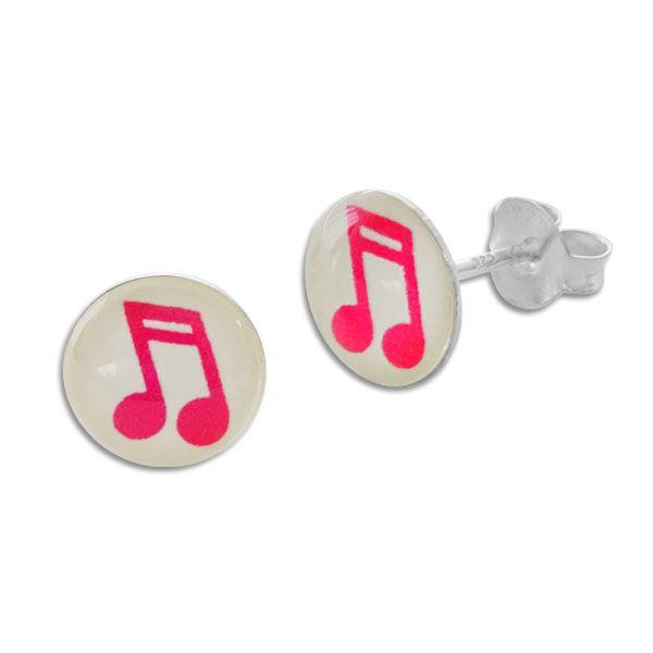 Runde Ohrstecker Ohrringe pinke Musiknote 925 Silber Silberschmuck