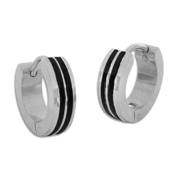 Edelstahl Creolen mit schwarzen Rillen glänzend Ohrringe