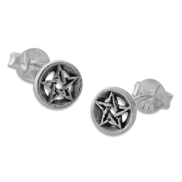 Ohrstecker Ohrringe Pentagramm im massiven Kreis 925 Silber