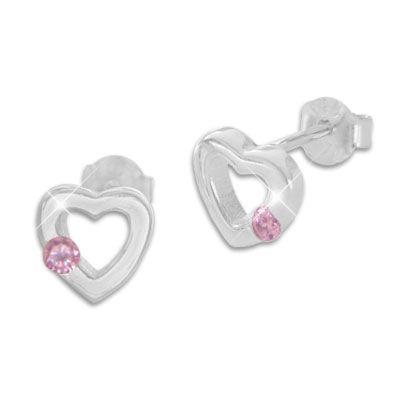 Ohrringe Kinder Herz mit rosa Zirkonia 925 Silber für Mädchen