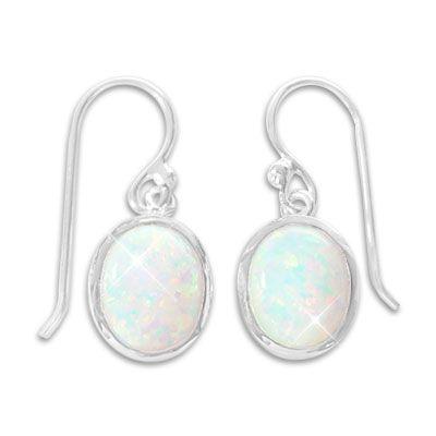 Opal Ohrringe Ohrhaken mit ovalen Steinen 925 Silber