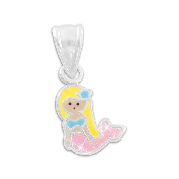 Meerjungfrau Anhänger mit rosa Glitzer Flosse 925 Silber Geschenk Kinder