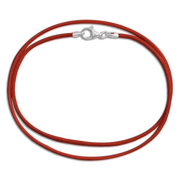 Lederband rot 38 cm mit 925 Silber Verschluss rotes Band aus Leder