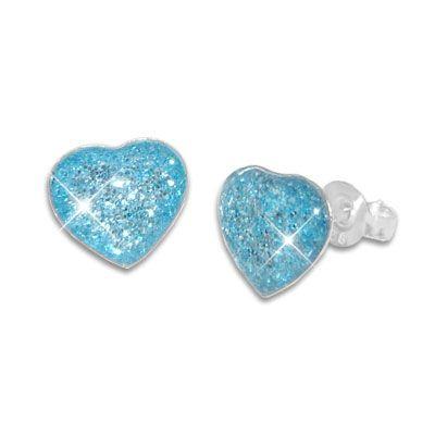 Glitzernde Herz Ohrstecker für Mädchen hellblau 925 Silber