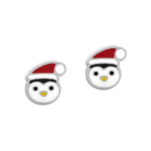Ohrstecker Pinguin Gesicht mit Weihnachtsmütze 925 Silber