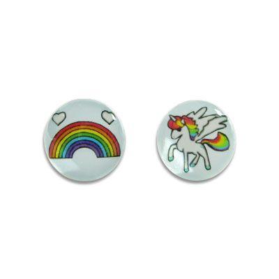 Ohrstecker rund mit Einhorn und Regenbogen 925 Silber