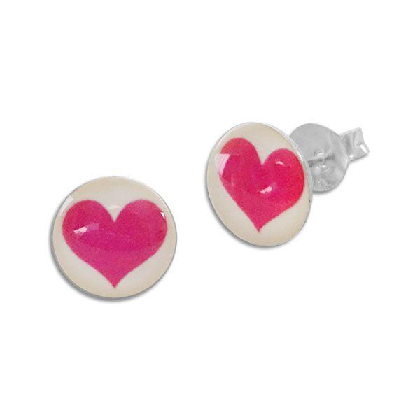Runde Ohrstecker Ohrringe pinkes Herz 925 Silber