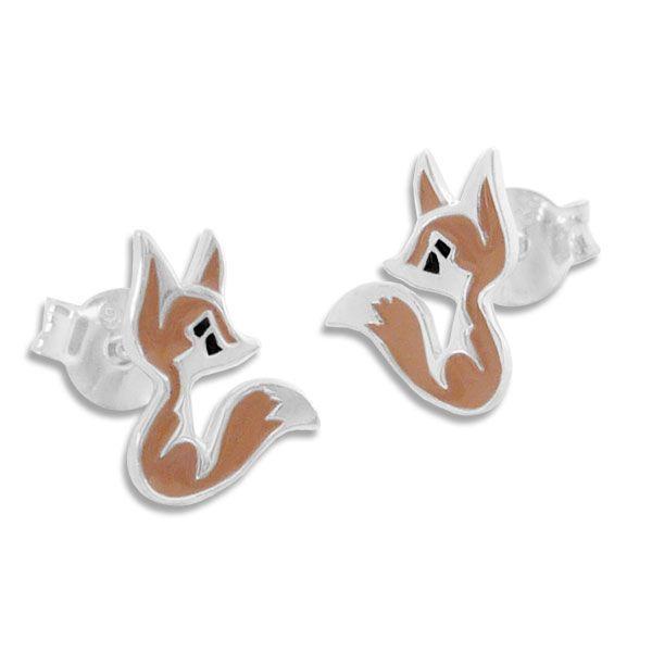 Fuchs Ohrringe braun lackiert 925 Silber Kinderschmuck Ohrstecker
