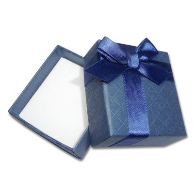 Etui für Schmuck blau mit Prägung und Schleife