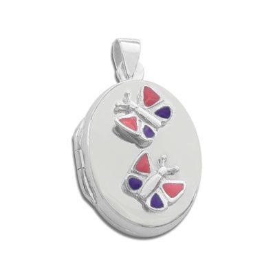 Medaillon für Kinder mit 2 Schmetterlingen Lack 925 Silber