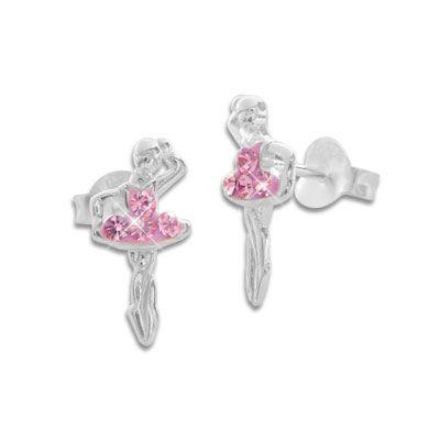 Ballerina Ohrstecker mit rosa Strass Steinen 925 Silber