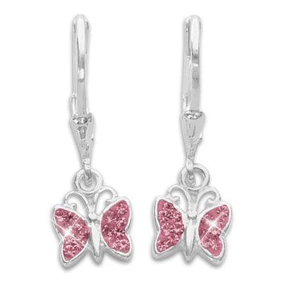 Mädchen Ohrringe Schmetterlinge mit rosa Zirkonia 925 Silber