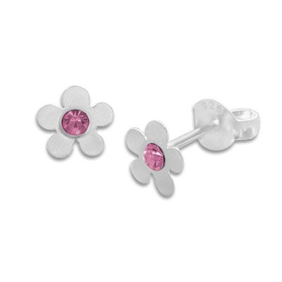 Ohrstecker Kinderschmuck Blume mattiert rosa Kristall 925 Silber