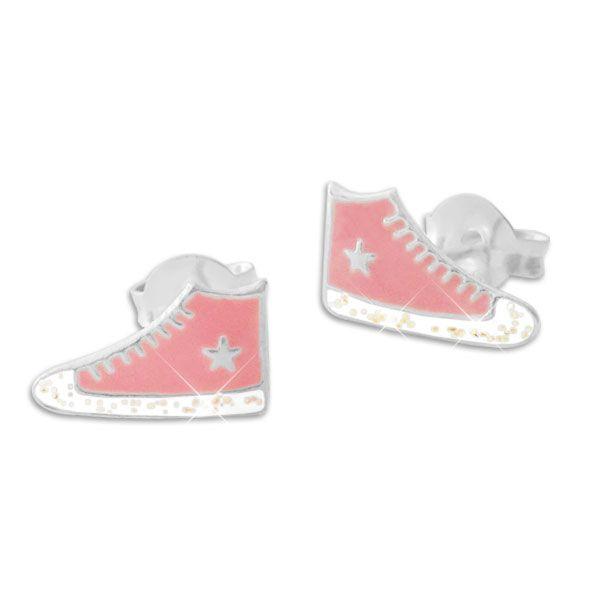 Sneaker Ohrstecker rosa mit Glitzer und Stern 925 Silber Ohrringe mit Schuhen