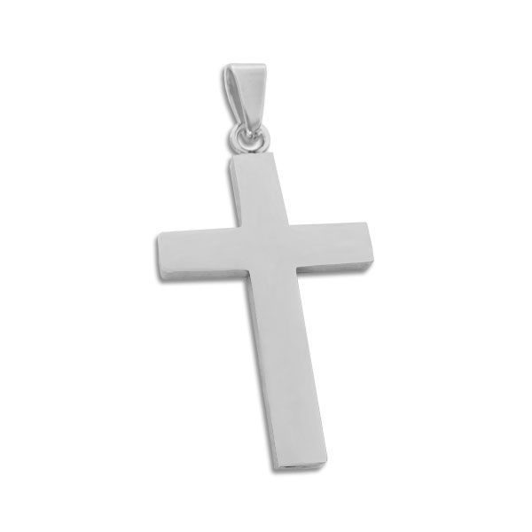 Schlichter Edelstahl Kreuz Anhänger glänzend für Damen und Herren