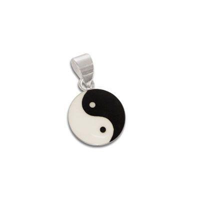 Kleiner Yin Yang Anhänger schwarz-creme 10 mm 925 Silber für Mädchen und Damen