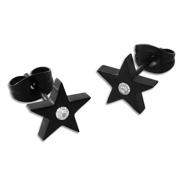 Schwarze Ohrringe mit großen Sternen und Strass Steinen Edelstahl