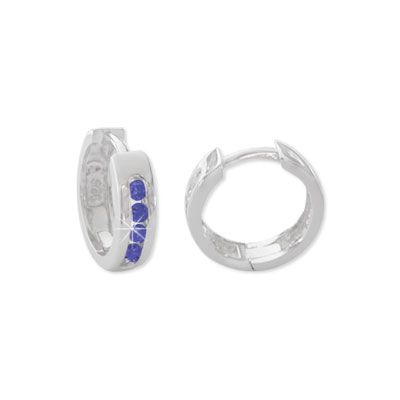 Creolen mit safir blauen Steinen 925 Silber Klapp-Creolen