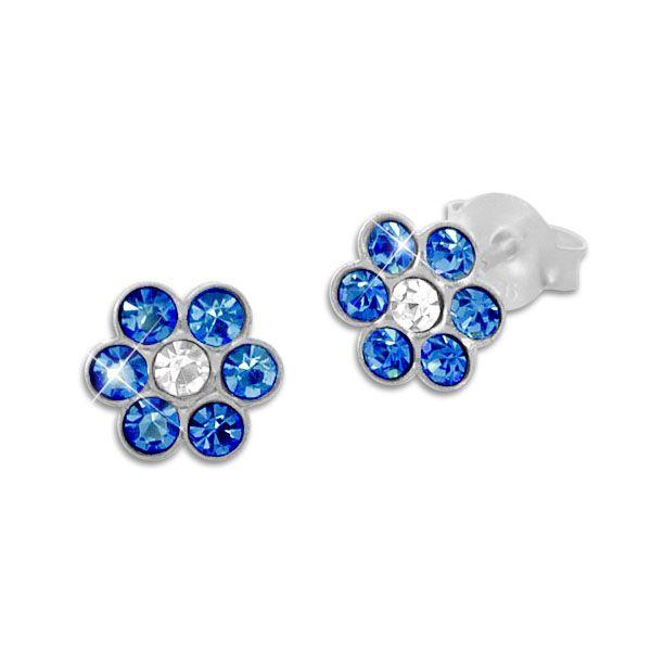 Kinder Ohrringe Kristall Blume blau und weiß 925 Silber