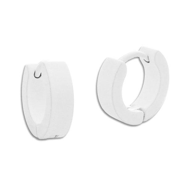 Creolen weiß Edelstahl 13 x 4 mm weiße Ohrringe für Damen und Herren