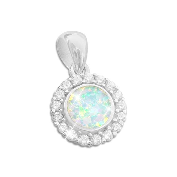 Anhänger Opal Blume mit Zirkonia 925 Silber