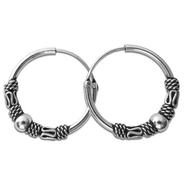 Große Creolen im Gothic Design mit Kugel 20 mm 925 Silber