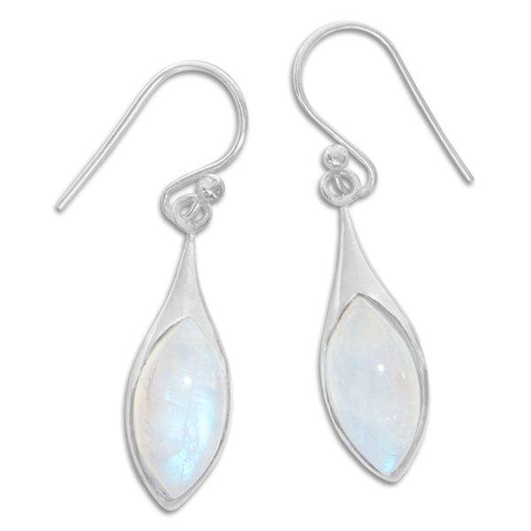 Ohrringe mit Mondsteinen in Navette Form 925 Silber