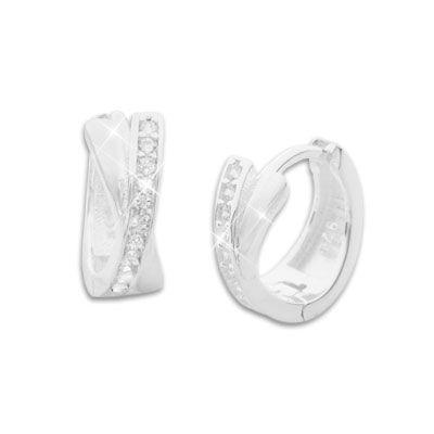 Klapp-Creolen gekreuzt mit Zirkonia glänzend 925 Silber Strass Ohrringe