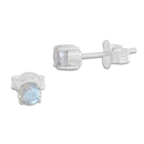 Labradorit Ohrstecker Ohrringe facettiert 4,5 mm 925 Silber