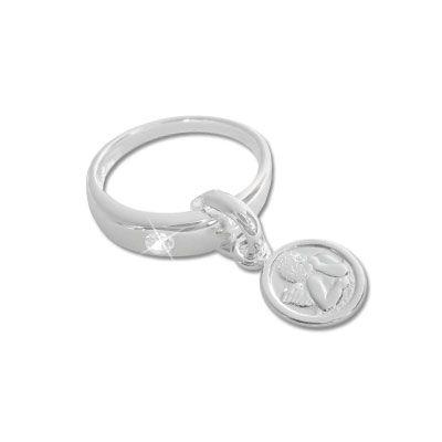 Taufring Anhänger Engel mit Zirkonia 925 Silber