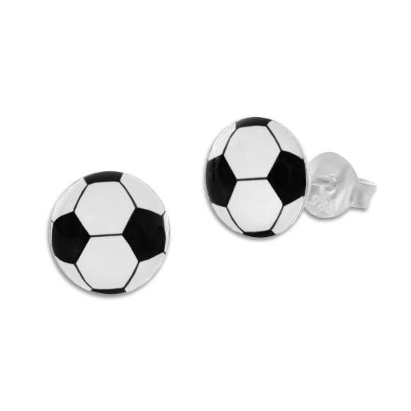 Runde Ohrstecker Fußball 925 Silber Ohrringe für Jungs