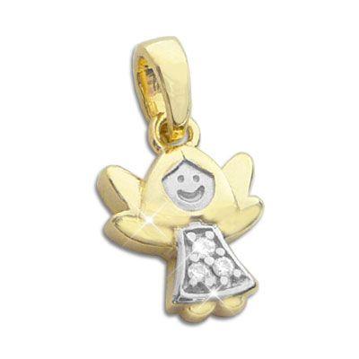 Gold Engel mit Zirkonia 333 Gold bicolour