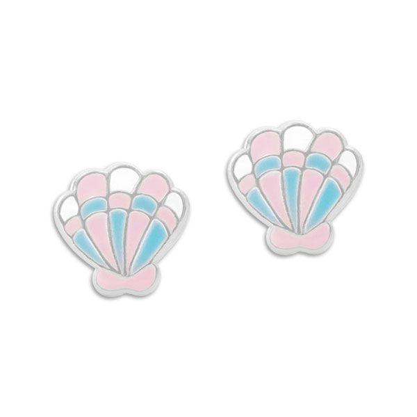 Ohrstecker Muscheln pastell rosa und blau 925 Silber Kinder Ohrringe