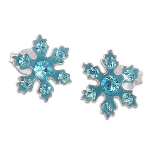 Eiskristall Ohrstecker aqua blau mit 14 Strass Steinen 925 Silber