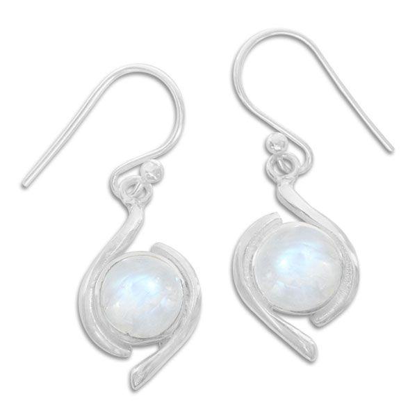 Mondstein Ohrringe Ohrhänger rund mit Design Rand 925 Silber