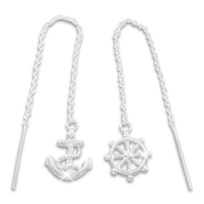 Silber Ohrringe zum Durchziehen Steuerrad und Anker 925 Silber