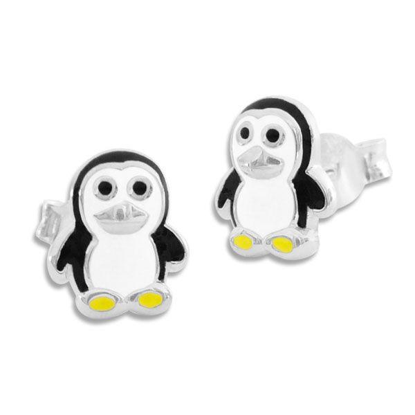 Kinder Ohrringe mit lackierten Pinguinen 925 Silber Ohrstecker
