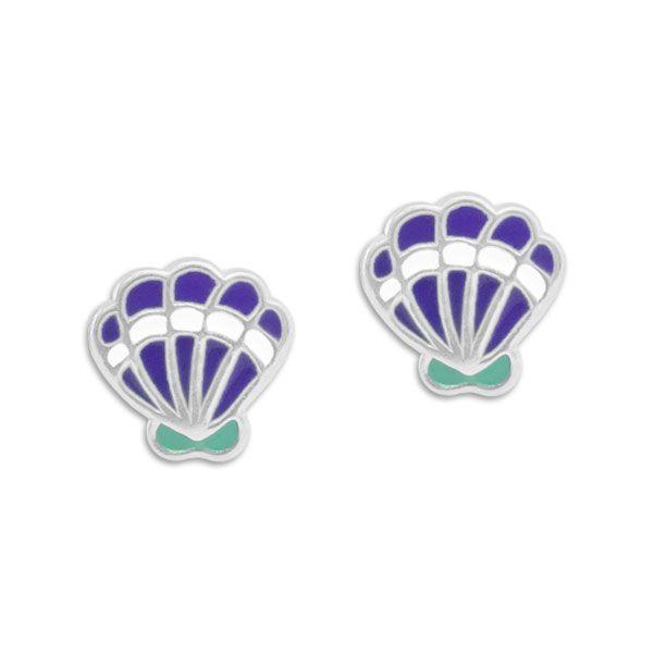Ohrstecker mit Muscheln lila mint weiß 925 Silber Kinder Ohrringe
