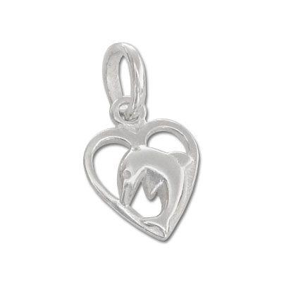 Kinderschmuck Delfin Anhänger im Herz 925 Silber Silberanhänger für Kinder