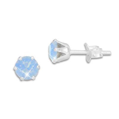 Kristall Ohrstecker Milky hellblau rund 5 mm 925 Silber Strass