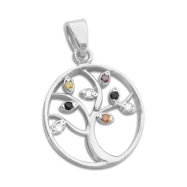 Anhänger Lebensbaum mit farbigen Zirkonia Steinen 925 Silber multicolour
