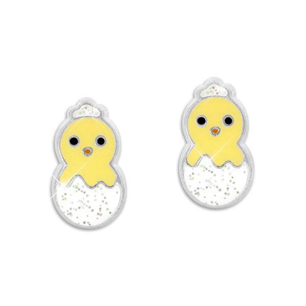 Ohrstecker Küken im Ei mit Glitzer 925 Silber